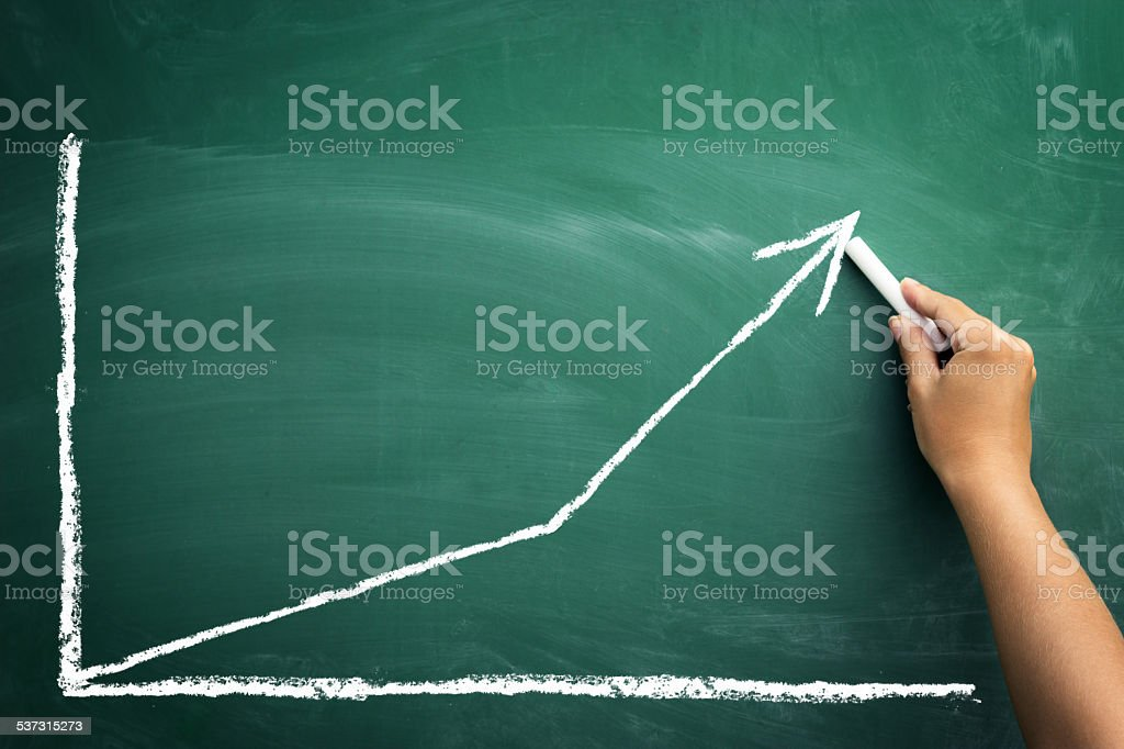 chalkboard with finance business graph stock photo