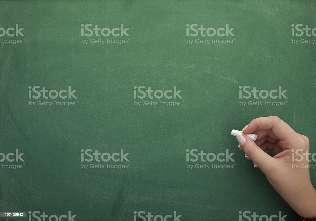 Chalkboard with hand royalty-free stock photo