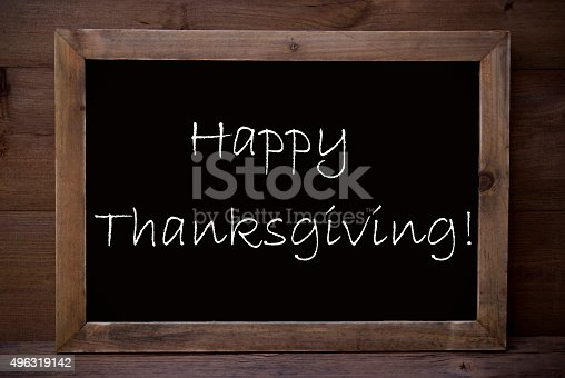 istock Chalkboard With Happy Thanksgiving 496319142