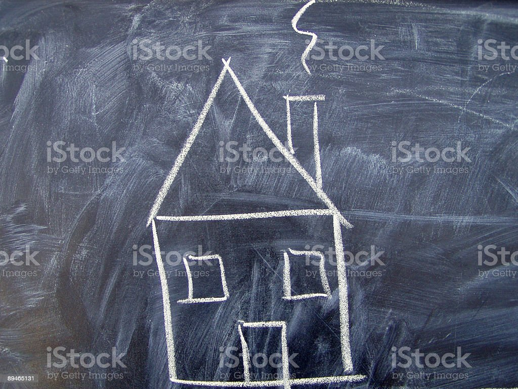Chalkboard with house royalty-free stock photo