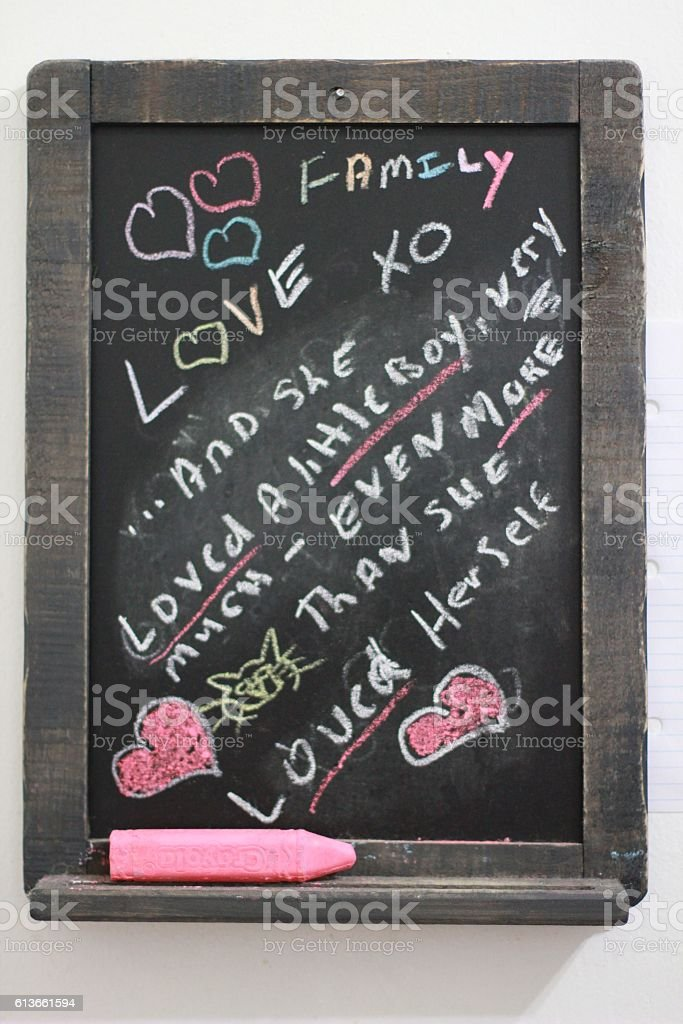 Chalkboard with quote stock photo