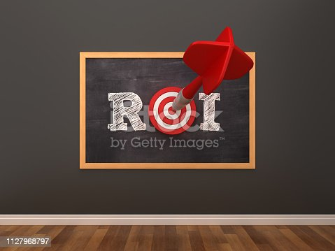 Chalkboard with ROI Word with Target and Dart in Room - 3D Rendering