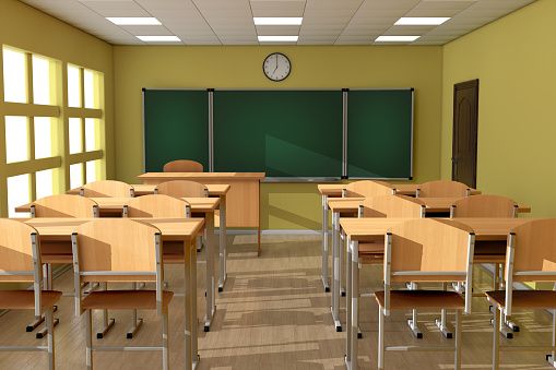 Chalkboard With Rows Of Wooden Lecture School Or College Desk Tables In  Modern Classroom 3d Rendering Stock Photo - Download Image Now