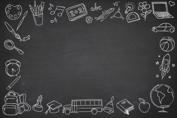 Chalkboard with School Symbols Chalkboard with school symbols with writing slate chalk art equipment stock pictures, royalty-free photos & images