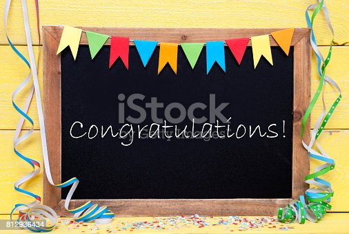 istock Chalkboard With Streamer, Text Congratulations 812936434