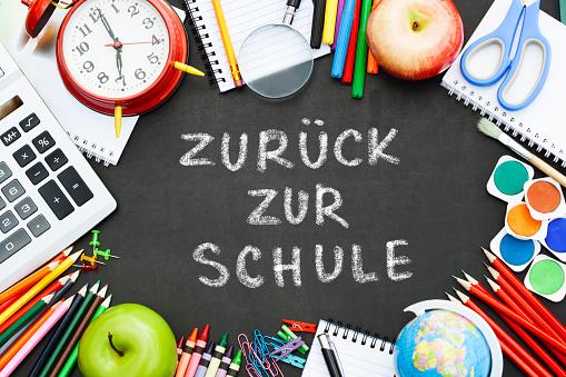chalkboard with the text ,,zuruck zur schule''