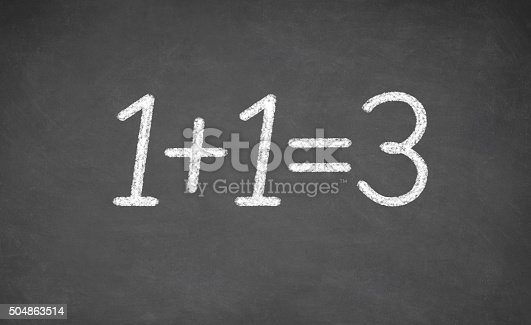 532357605istockphoto chalkboard with the words of one plus 1 equals three 504863514