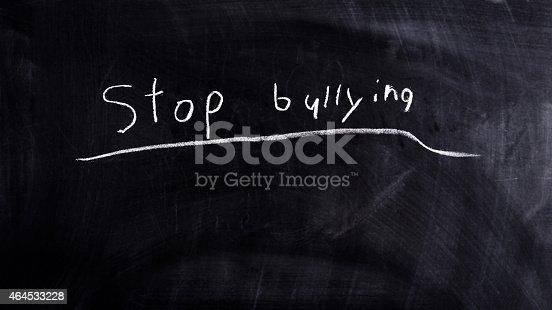 istock Chalkboard writing Stop Bullying 464533228
