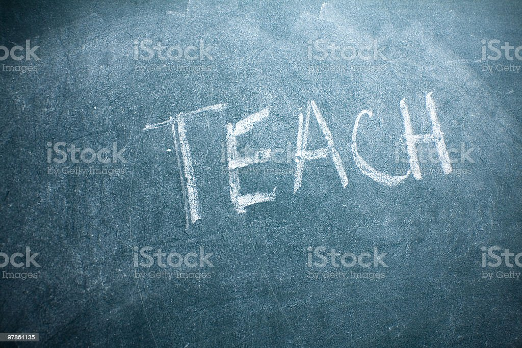 Chalkboard writing Teach royalty-free stock photo