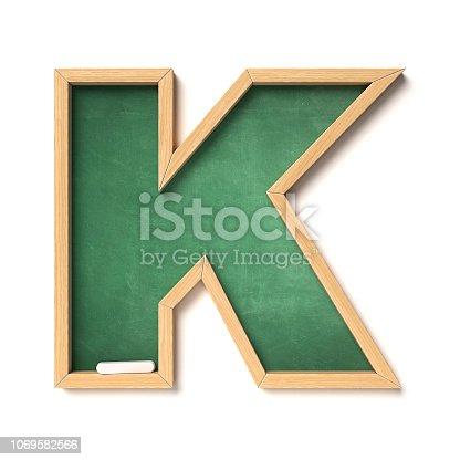 istock Chalkboarf font 3d rendering letter K 1069582566