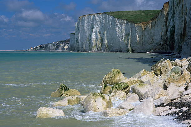 Chalk-cliffs The chalk-cliffs of Ault in the northwest of France picardy stock pictures, royalty-free photos & images