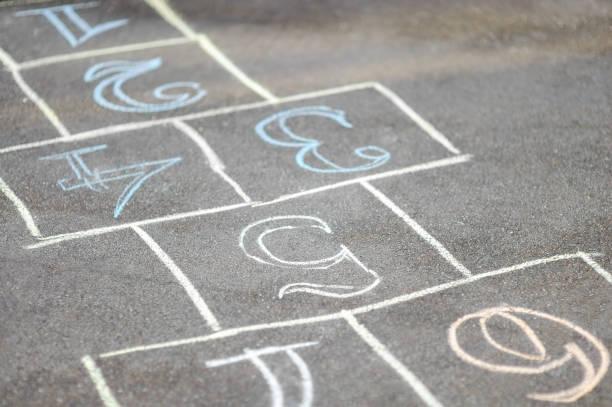 Chalk-painted hopscotch on asphalt stock photo