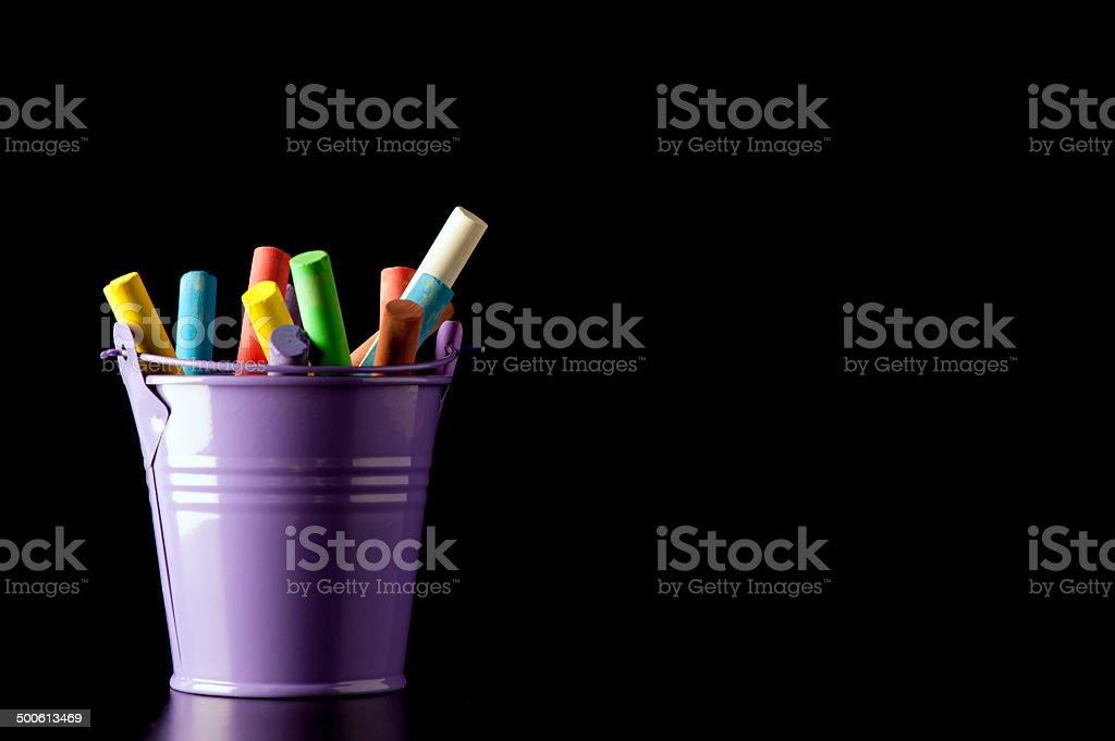 Chalks In A Bucket (landscape). stock photo