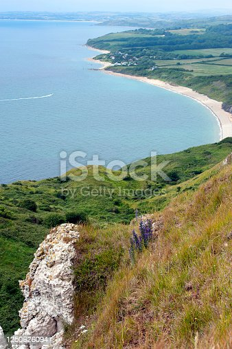 Clifftop and shoreline waters edge walk along the most beautiful rural coastline in England, a natural landscape of scenery covered in wild flowers and mature trees and woodland, part of the World Heritage Site Jurassic Coast of chalk and limestone cliffs near Osmington Mills, Ringstead Bay, Weymouth, Dorset, England