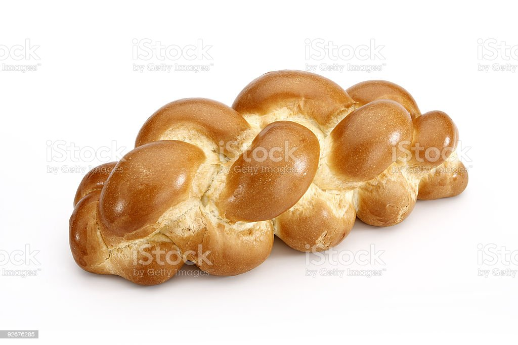 Challah bread isolated on white background with clipping path stock photo