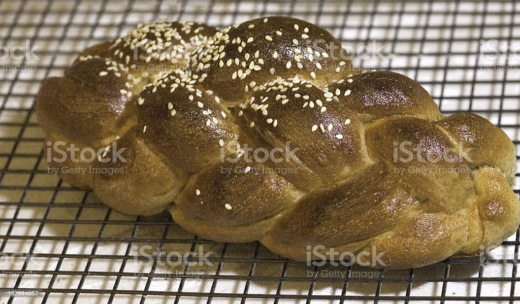 challah on cooling rack royalty-free stock photo