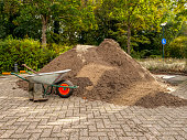 Spring Mulch at Residential Curb-side with a wheelbarrow