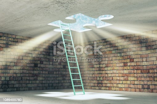 Abstract brick prison interior with ladder and missing puzzle way out with sunlight. Challenge and escape concept. 3D Rendering