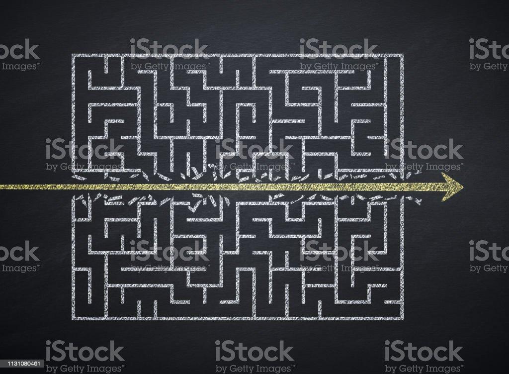 Challenge Concept Maze, Challenge, Arrow Symbol, Blackboard, Destruction, Strategy Arrow Symbol Stock Photo