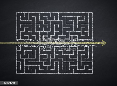Maze, Challenge, Arrow Symbol, Blackboard, Destruction, Strategy