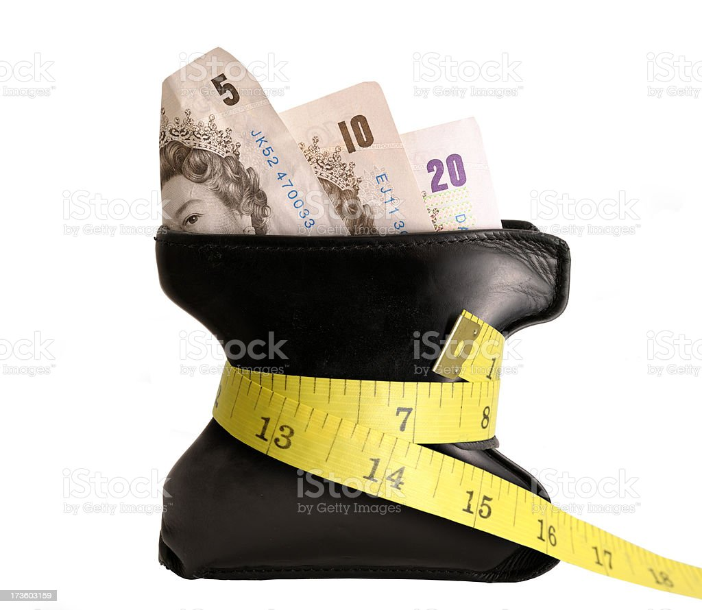Challenged wallet with pound notes (XXL) royalty-free stock photo