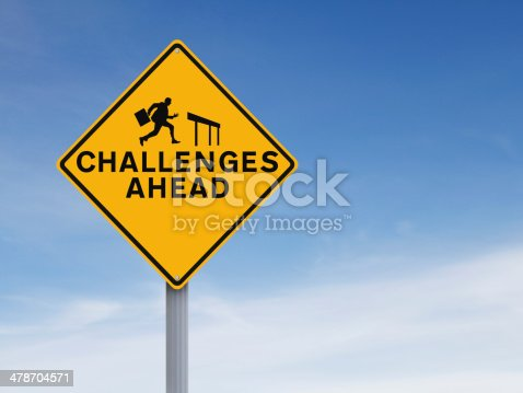A conceptual road sign on challenges or obstacles