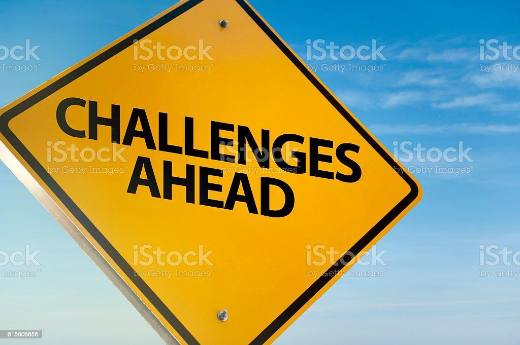 Challenges ahead / Traffic sign (Click for more) - foto de acervo