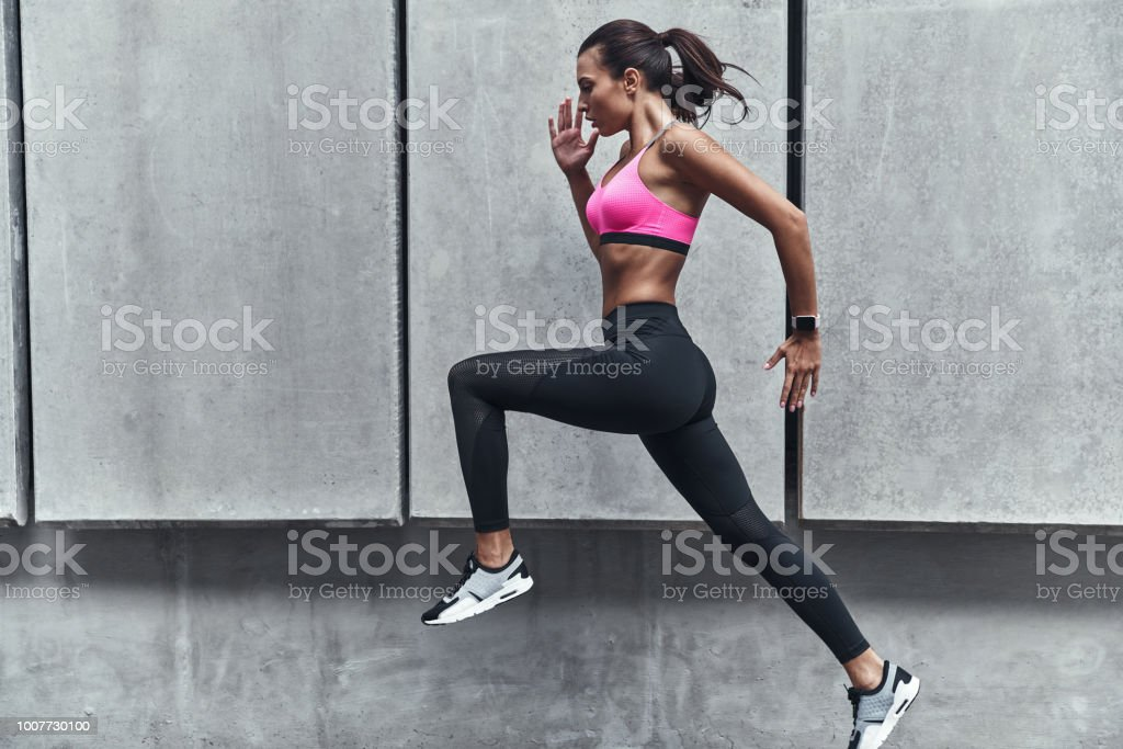 Challenging herself. stock photo