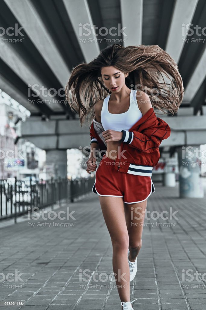 Challenging herself. royalty-free stock photo