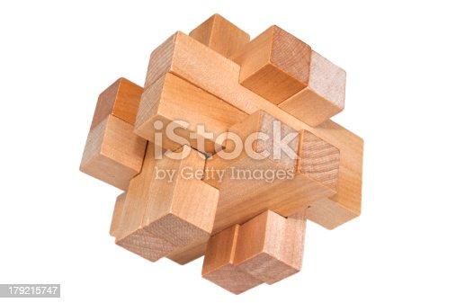 istock Challenging puzzle block of wooden parts 179215747