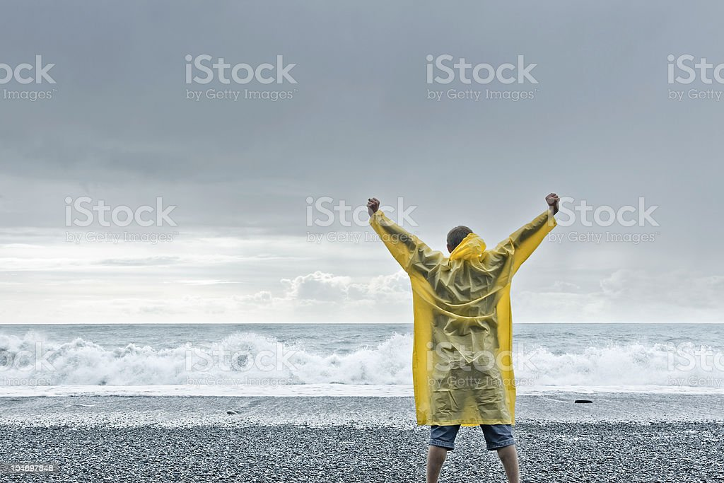 Challenging the sea stock photo