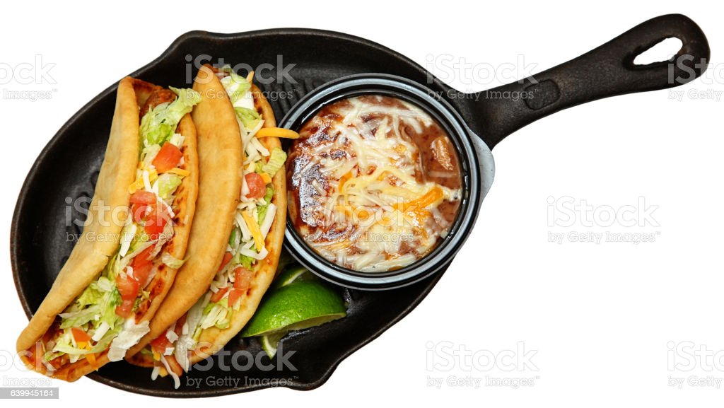 Chalupas and Pinto Beans in Skillet stock photo