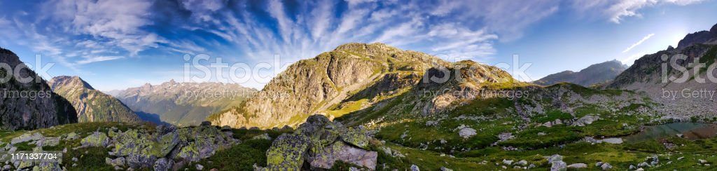 Chalvet Mountain and behind the Belledonne mountain range - Royalty-free 360-Degree View Stock Photo