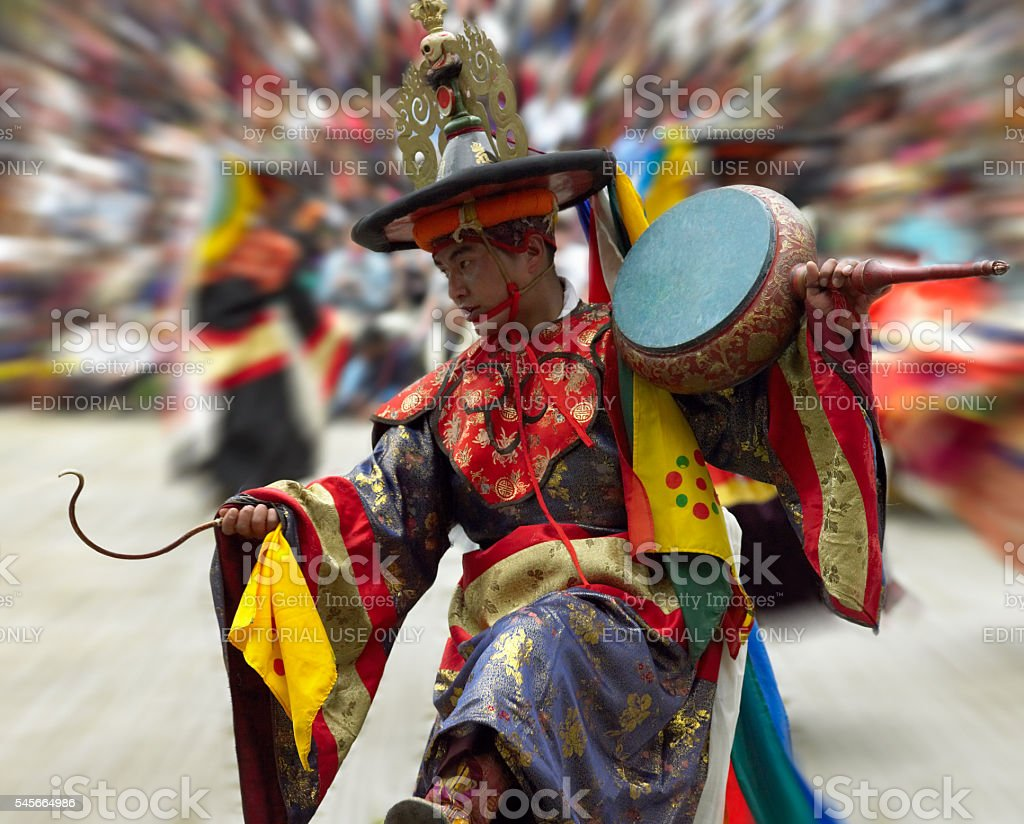 Cham Dancer - Paro Tsechu - Kingdom of Bhutan stock photo