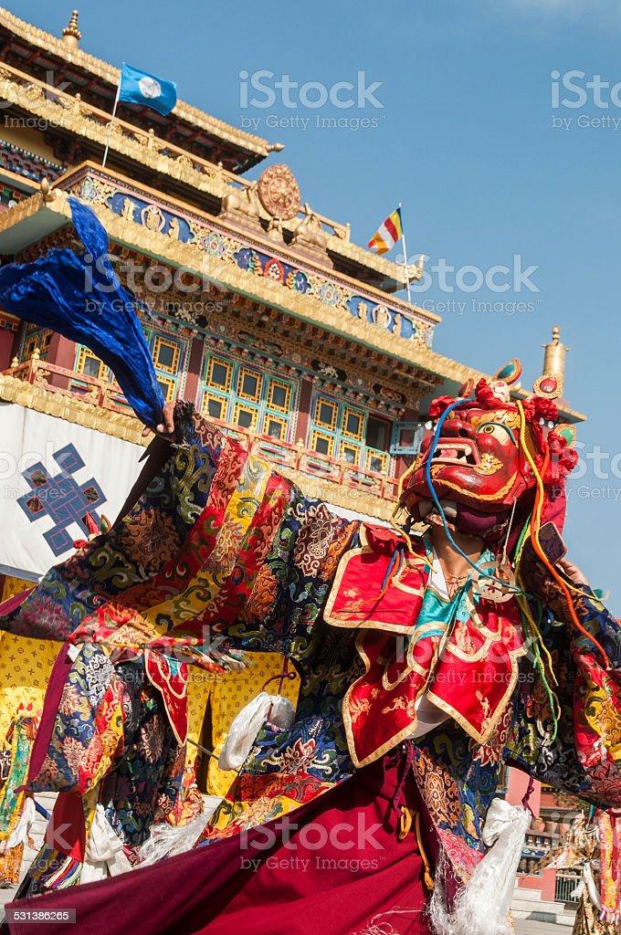 Cham Dancer, Shechen Monastery, Bodhnath, Kathmandu, Nepal stock photo