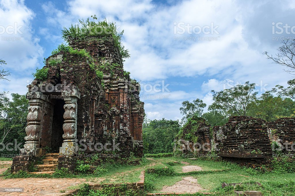 Cham tower at My Son, Quang Nam, Vietnam stock photo