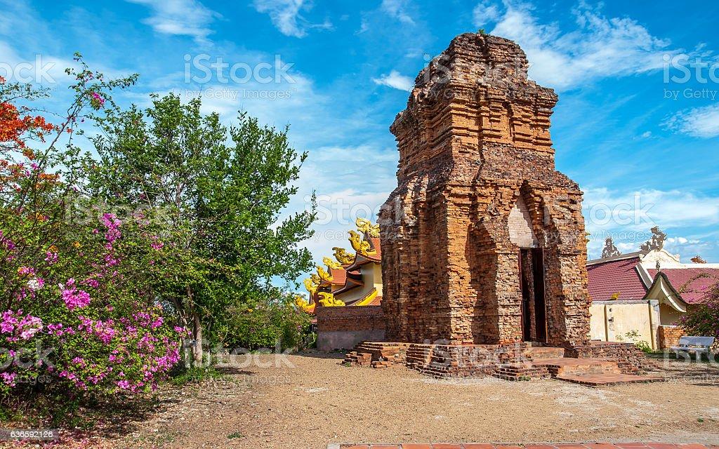 Cham tower Vietnam stock photo