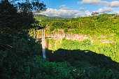 The touristic cascade Chamarel waterfall, Mauritius.