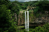 Chamarel Waterfall in the tropical island jungle of Mauritius