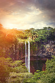 Chamarel Waterfall in sunset light in Mauritius