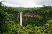 Tamarin Waterfall Seven Cascades in the tropical island jungle of Mauritius