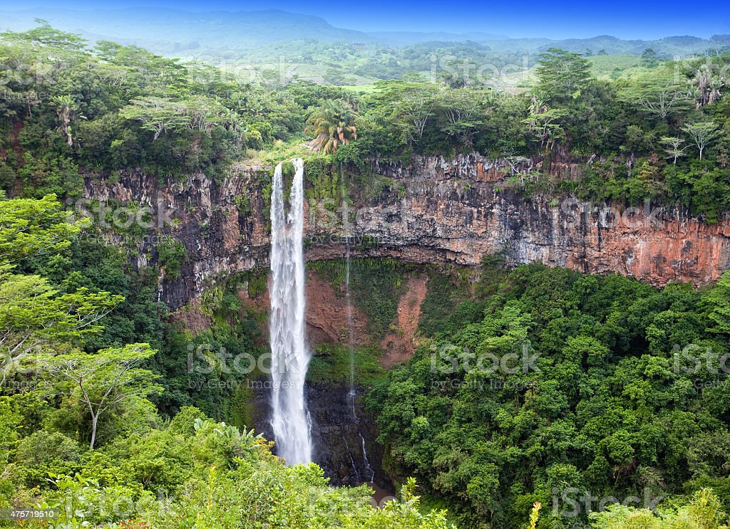 Chamarel waterfalls in Mauritius stock photo