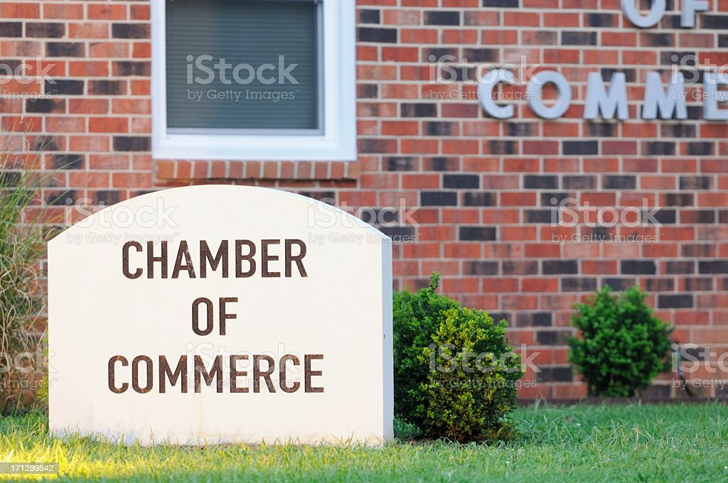 A chamber of commerce grave style sign stock photo