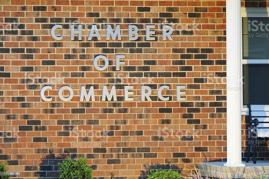 \'Illuminated chamber of commerce sign on building, horizontal.\'