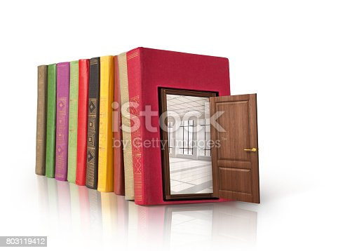 istock Chamber of Secrets.A book, on a white background, in which the door that leads into the room. 803119412