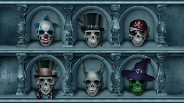 kammer der schädel halloween plakatsammlung - halloween party einladungen stock-fotos und bilder