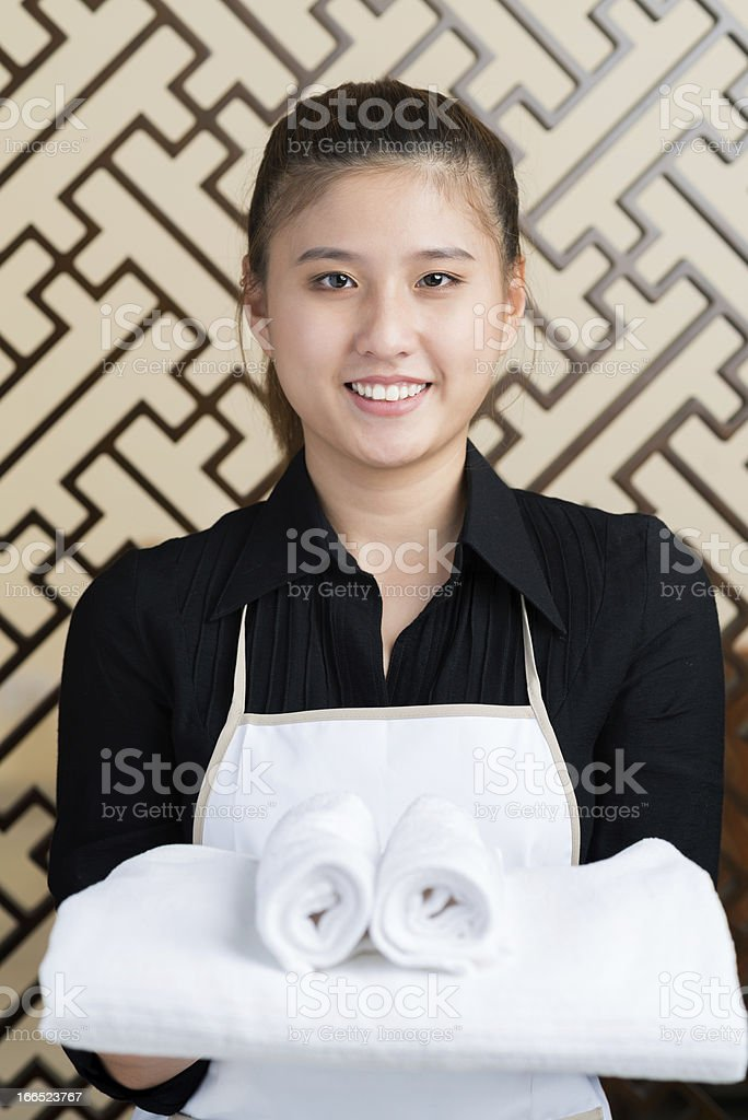 Chambermaid at work royalty-free stock photo