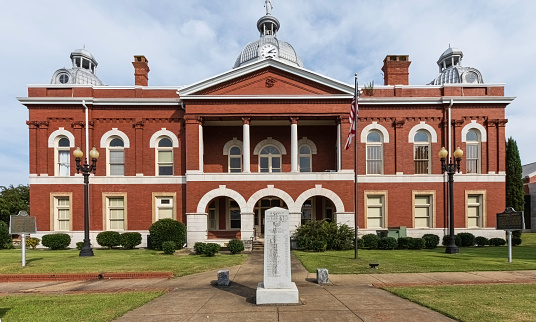 LaFayette, Alabama, USA-Oct. 4, 2020:  Historic Chambers County courthouse in downtown LaFayette.
