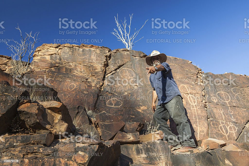 Chambers Gorge aboriginal engraving site. Flinders Ranges. South Australia stock photo