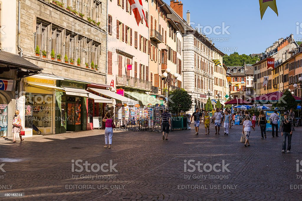 Chambéry (France). Place Saint Léger with tourists and stores stock photo